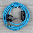 Textilkabel Anschlussleitung 2-5m hell-blau Schalter u....