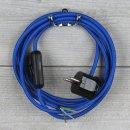 Textilkabel Anschlussleitung 2-5m dunkel-blau Schalter u....