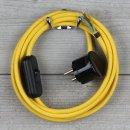 Textilkabel Anschlussleitung 2-5m gelb Schalter u....