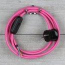 Textilkabel Anschlussleitung 2-5m pink Schalter u....
