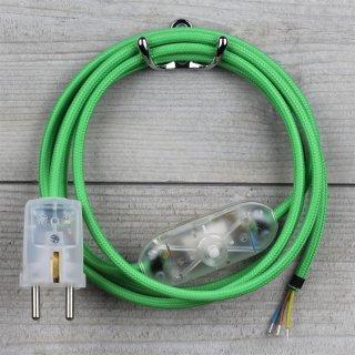 Textilkabel Anschlussleitung 2-5m grün Schalter u. Schutzkontakt-Stecker transparent