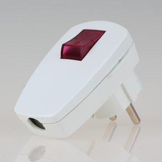 Schutzkontakt Winkelstecker weiß mit Kontrollschalter beleuchtet 250V/16A