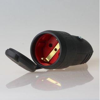 PCE Gummi Schutzkontakt-Kupplung schwarz mit Polyamideinsatz Taurus IP44