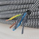 Textilkabel Stoffkabel schwarz-weiß zick-zack...