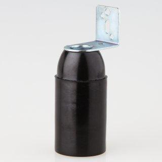 E14 Kunststoff Fassung schwarz ohne Außengewinde mit Metall-Winkel