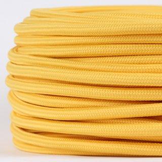 Textilkabel Stoffkabel gelb 3-adrig 3x0,75 Gummischlauchleitung 3G 0,75 H03VV-F textilummantelt