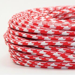 Textilkabel Stoffkabel rot-weiß Hahnenkamm Muster 3-adrig 3x0,75 Gummischlauchleitung 3G 0,75 H03VV-F textilummantelt