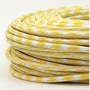 Textilkabel Stoffkabel gelb-weiß Hahnenkamm Muster...
