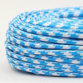 Textilkabel Stoffkabel hellblau-weiß Hahnenkamm Muster 3-adrig 3x0,75 Gummischlauchleitung 3G 0,75 H03VV-F textilummantelt