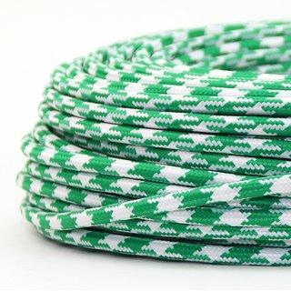 Textilkabel Stoffkabel grün-weiß Hahnenkamm Muster 3-adrig 3x0,75 Gummischlauchleitung 3G 0,75 H03VV-F textilummantelt