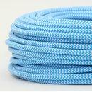 Textilkabel Stoffkabel hellblau-weiß Zick Zack...