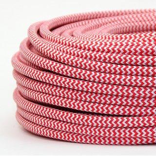 Textilkabel Stoffkabel rot-weiß Zick Zack Muster 3-adrig 3x0,75 Gummischlauchleitung 3G 0,75 H03VV-F textilummantelt