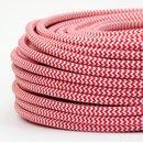 Textilkabel Stoffkabel rot-weiß Zick Zack Muster...