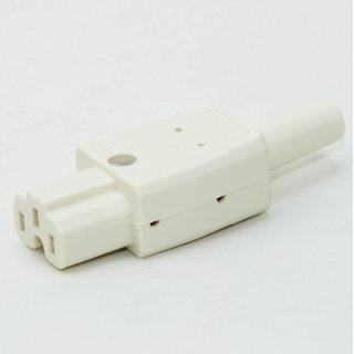 Heißgerätekupplung weiß / elfenbein gerade 250V/10A