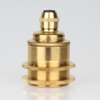 E27 Vintage Metall Lampenfassung Messing roh mit Klemmnippel Zugentlaster und 2 Schraubringe