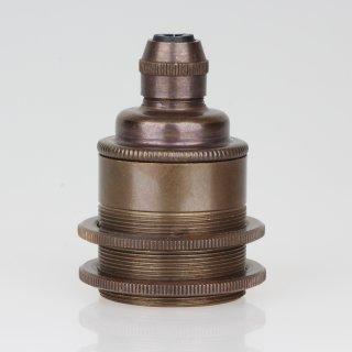 E27 Vintage Metall Lampenfassung antik fume mit Klemmnippel Zugentlaster und 2 Schraubringe