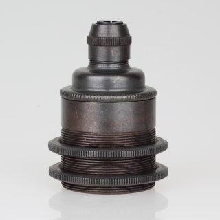 E27 Vintage Metall Lampenfassung tiffany mit Klemmnippel Zugentlaster und 2 Schraubringe