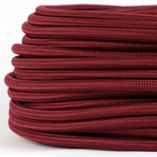Textilkabel Stoffkabel bordeaux rot 3-adrig 3x0,75 Gummischlauchleitung 3G 0,75 H03VV-F textilummantelt