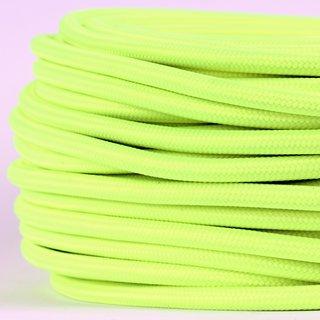 Textilkabel Stoffkabel neon gelb 3-adrig 3x0,75 Gummischlauchleitung 3G 0,75 H03VV-F textilummantelt