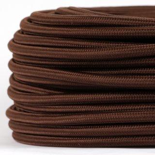 Textilkabel Stoffkabel braun 3-adrig 3x0,75 Gummischlauchleitung 3G 0,75 H03VV-F textilummantelt