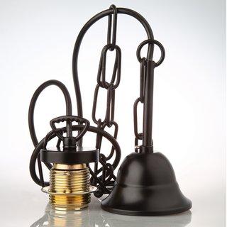 E27 Lampen Kettenpendel schwarz 1m lang mit Metall Baldachin Tulpenform