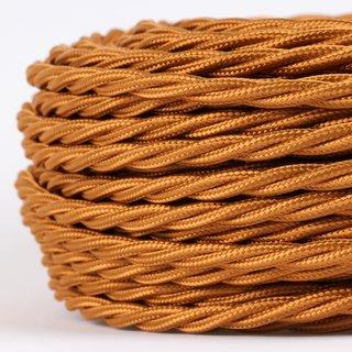 Textilkabel Stoffkabel englisch-gold 3-adrig 3x0,75 gedreht verseilt einzeln umflochten