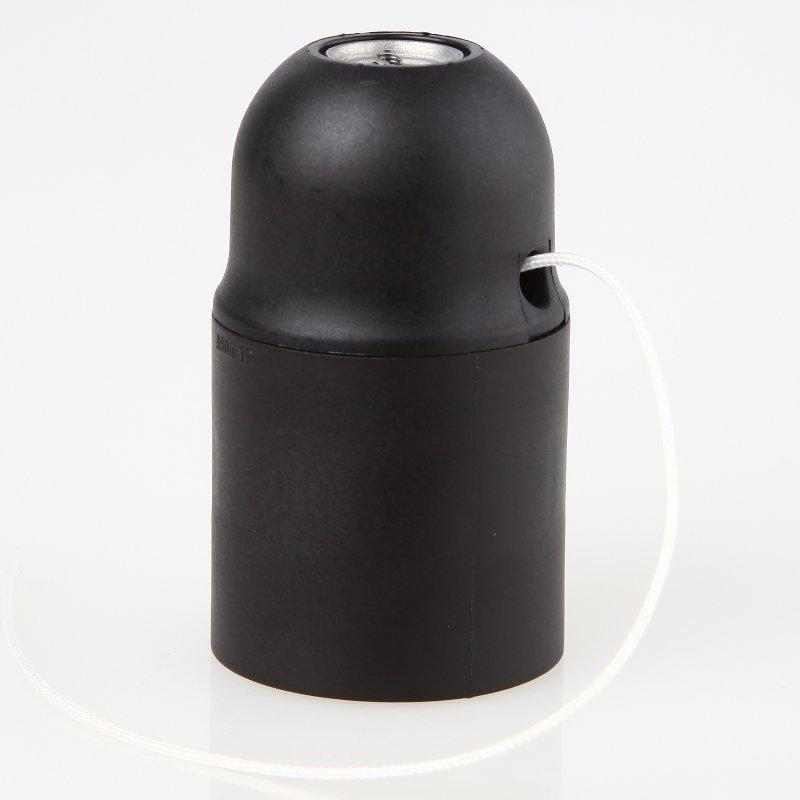 e27 lampenfassung kunststoff schwarz mit zugschalter ohne au en. Black Bedroom Furniture Sets. Home Design Ideas