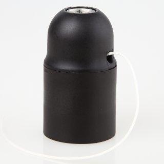 E27 Lampenfassung Kunststoff schwarz mit Zugschalter ohne Außengewinde