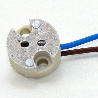12V Niedervolt Halogen Fassung  G4-GY6,35 mit 14 cm Kabel mit PTFE Isolation T300 hitzebeständig bis 250° C