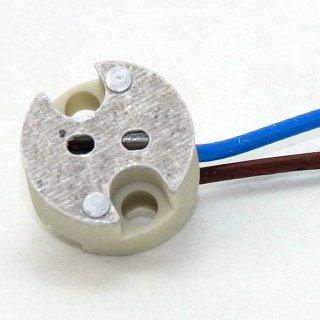 12V Niedervolt Halogen Fassung  G4-GY6,35 mit 1 Meter Kabel mit PTFE Isolation T300 hitzebeständig bis 250° C