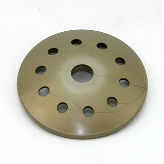 Kuppelscheibe Abschlußscheibe Kaschierung Kunststoff gold mit Lochmuster Durchmesser 62x7mm