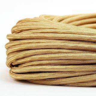 Textilkabel Stoffkabel gold 2-adrig 2x0,75 Zug-Pendelleitung S03RT-F