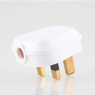 Lampen-Stecker Netzstecker weiß für Großbritannien UK/GB 3-polig 240V/13A flache Stifte