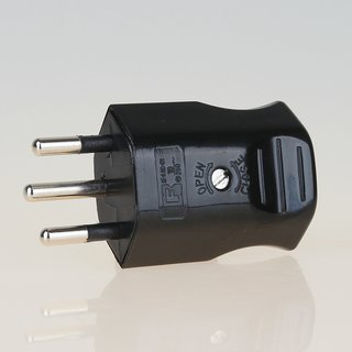 Lampen Schutzkontakt-Stecker schwarz für die Schweiz 3-polig 10A/250V