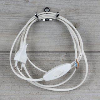 Lampen Anschlussleitung weiß 2 Meter 2-adrig mit Schnurschalter Zwischenschalter und Euro-Flachstecker