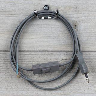 Lampen Anschlussleitung grau 2 Meter 2-adrig mit Schnurschalter Zwischenschalter und Euro-Flachstecker