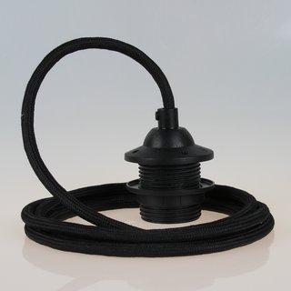 Textilkabel Lampenpendel schwarz mit E27 Dach-Lampenfassung schwarz