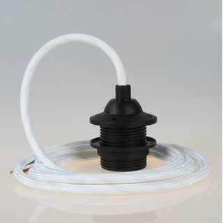 Textilkabel Lampenpendel weiß mit E27 Dach-Lampenfassung schwarz