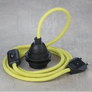 Textilkabel Lampenpendel gelb mit E27 Kunststoff Lampenfassung Schnurschalter und Euro-Flachstecker schwarz