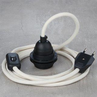 Textilkabel Lampenpendel elfenbein mit E27 Kunststoff Lampenfassung Schnurschalter und Euro-Flachstecker schwarz