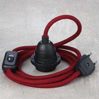 Textilkabel Lampenpendel bordeaux mit E27 Kunststoff Lampenfassung Schnurschalter und Euro-Flachstecker schwarz